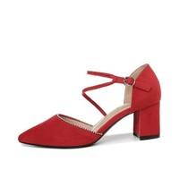 GUCIHEAVEN 古奇天伦 尖头粗跟一字式扣带百搭纯色防水台女凉鞋 9279 红色 37
