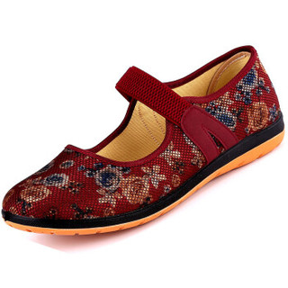 ANKANG 鮟鱇 妈妈老年人奶奶婆婆北京布鞋子硫化软底一字带AK69005 红色 37