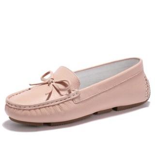 健足乐 休闲舒适蝴蝶系带装饰坡跟妈妈皮鞋 J911512002 粉色 37