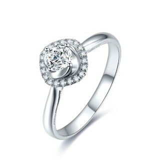 周六福 珠宝女款时尚钻石戒指18K金结婚钻戒 KGDB023308 80分 SI/H