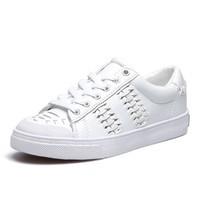 SATCHI 沙驰 系带圆头镂空女士休闲鞋平底女板鞋M7043001 白色 38