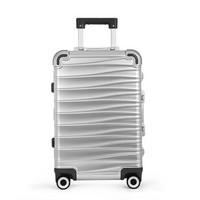 """京东京造  """"浪""""旅行箱 铝镁合金拉杆箱 大容量金属行李箱 顺滑静音万向轮登机箱 银色20英寸"""