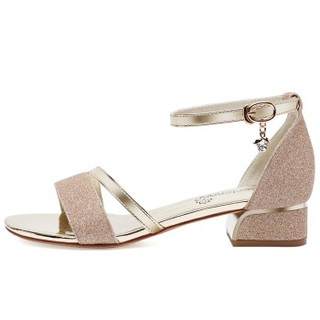 centenary 百年纪念 露趾浅口一字式扣带水钻方跟时尚女凉鞋 1474-1 金色(跟高3CM) 38