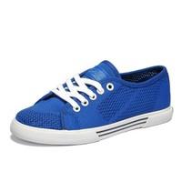 SATCHI 沙驰 休闲鞋冲孔透气织布鞋面帆布板鞋女鞋 M71310 深蓝色 35