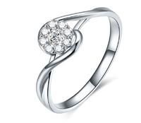 鸣钻国际 PT950铂金钻戒女 共约30分钻戒 白金群镶显钻款钻石戒指女戒 钻石对戒女款 时光 17号