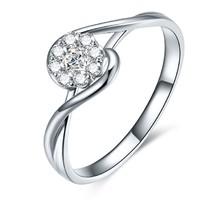 鸣钻国际 PT950铂金钻戒女 共约30分钻戒 白金群镶显钻款钻石戒指女戒 钻石对戒女款 时光 14号