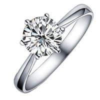 喜钻 皇冠六爪18K金钻石结婚钻戒 婚戒