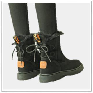 YIYA 毅雅 欧美风时尚潮流小圆头低跟保暖长毛绒内里防滑短筒雪地靴女 813388 黑色 37