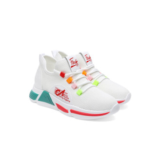 LAIKAJINDUN 莱卡金顿 女士韩版百搭平底低帮系带休闲运动跑步鞋 6639 白色 38