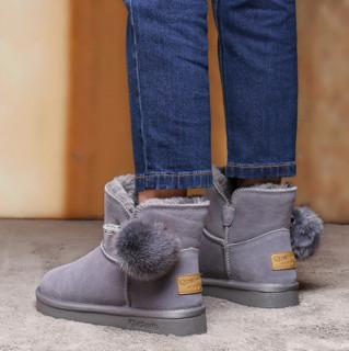 Qin&beale 千佰莉 平底可爱毛球保暖短筒雪地靴女  100M7543   浅灰色 37