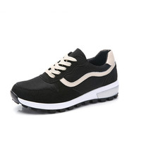 L'ALPINA 阿尔皮纳 女休闲鞋运动韩版学生透气网布潮流高帮厚底旅游慢跑步672 黑米 40