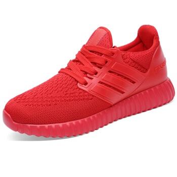 LAIKAJINDUN 莱卡金顿 韩版学生百搭网面透气内增高休闲运动跑步女鞋 6442 红色 40