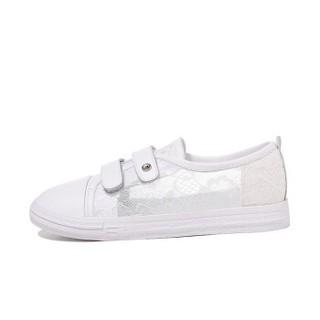 LAIKAJINDUN 莱卡金顿 韩版时尚女士平底低系带潮流休闲鞋 6642 白色(魔术贴) 36