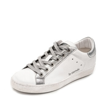 le saunda 莱尔斯丹 休闲运动系带平底小白鞋女 LS 9T22001 银色 37
