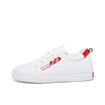 LAIKAJINDUN 莱卡金顿 平底学生韩版百搭女士厚底运动休闲小白鞋 6631 白红 36