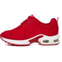 玫蒂莎 时尚系带百搭运动休闲鞋低帮舒适增高女鞋 2679A 红色 37