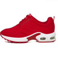 玫蒂莎 时尚系带百搭运动休闲鞋低帮舒适增高女鞋 2679A 红色 35