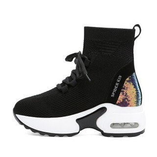 centenary 百年纪念 韩版时尚圆头平跟短靴前系带内增高防水台女鞋子 1825-1 黑色 37