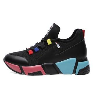 centenary 百年纪念 韩版时尚平底低帮系带拼色运动休闲鞋 1886 黑红 35