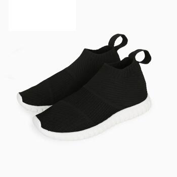 InteRight 运动鞋 女士飞织一脚蹬轻弹轻便运动休闲鞋 黑色 36