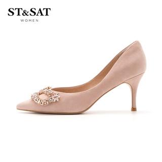 星期六女鞋绒面羊皮革时尚浅口优雅饰扣高跟单鞋 粉红 39