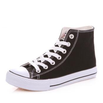 人本 帆布鞋经典高帮平底休闲系带纯色休闲风女 rb86352019 黑色 39