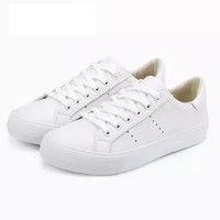 InteRight 女士时尚牛皮低帮系带休闲鞋女鞋 白色 38