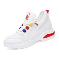 centenary 百年纪念 圆头女士系带拼色平跟运动性感时尚保暖休闲鞋1837-1 白红(低帮) 37