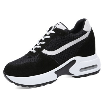 centenary 百年纪念 圆头女士平底跑步系带内增高百搭休闲鞋1725 白色 38