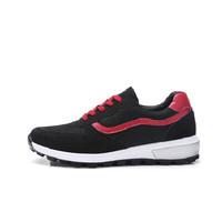 L'ALPINA 阿尔皮纳 女休闲鞋运动韩版学生透气网布潮流高帮厚底旅游慢跑步672 黑红 38