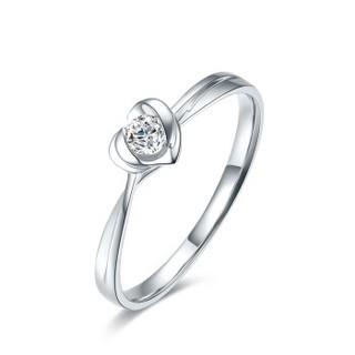 ZLF 周六福 珠宝18K金钻石戒指女 心形求婚钻戒 璀璨KGDB021211 约8分 14号