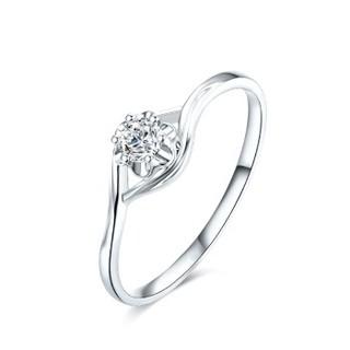 周六福 珠宝18K金钻石戒指花型扭臂女款钻戒 璀璨KGDB021089 约10分 13号