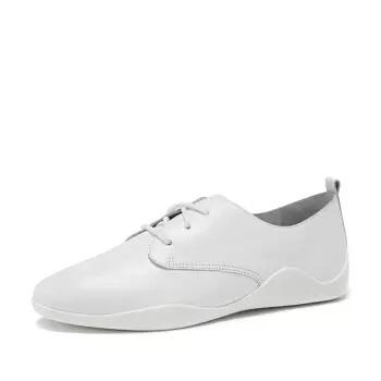 DAPHNE 达芙妮 牛皮系带时尚平底休闲鞋女1018101022 白色34