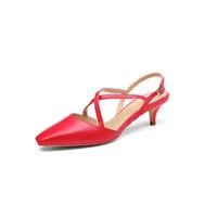 goldlion 金利来 女士凉鞋后空包头时尚交叉绑带中小猫跟 8228114803 红色 39码