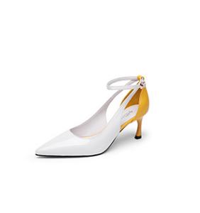 goldlion 金利来 女士尖头细高跟时尚拼色脚环绑带凉鞋 61291004220P 白色 36码