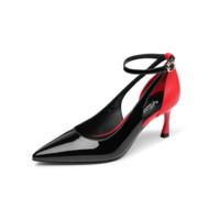 goldlion 金利来 女士尖头细高跟时尚拼色脚环绑带凉鞋 61291004201P 黑色 38码