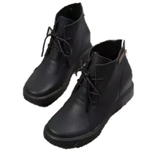 L'ALPINA 阿尔皮纳 靴子女鞋小白系带皮时尚舒适透气厚底内增高低帮运动学生韩版松糕气质 ZJ-502黑色40