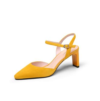 goldlion 金利来 女士尖头粗高跟优雅反绒皮脚腕带包头凉鞋 61991001250P 黄色 39码