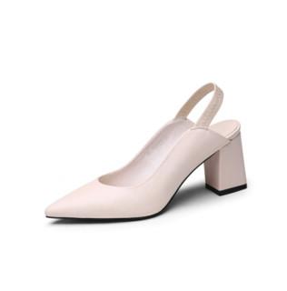 goldlion 金利来 女士尖头粗高跟浅口后空松紧带凉鞋 61291005121P 米白 34码