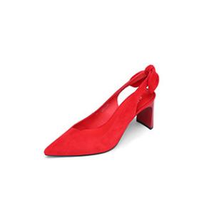 goldlion 金利来 女士尖头粗高跟反绒皮后空凉鞋 61291000380P 红色 37码
