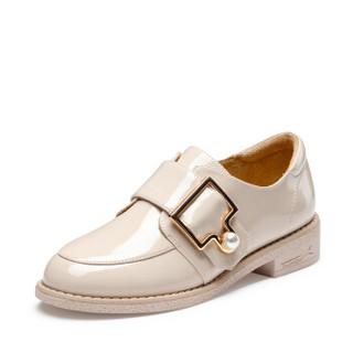 Josiny 卓诗尼 单鞋女漆皮纯色低跟中性皮带装饰 112810243 白色 36