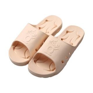 BAIHOU 白猴 浴室洗澡侧漏水防滑按摩情侣居家用凉拖鞋女 T-1801 米黄36-37码