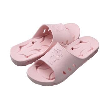 BAIHOU 白猴 浴室洗澡侧漏水防滑按摩情侣居家用凉拖鞋女 T-1801 粉红38-39码
