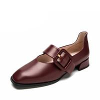 CNE 真适意 单鞋女 休闲日系方头搭扣玛丽珍粗低跟 CNE9T20501 酒红色 36