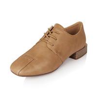 YIYA 毅雅 单鞋女系带低跟方头舒适鞋子复古简约女士鞋子 杏色 39