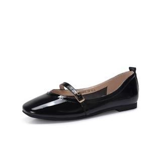 CAMEL 骆驼 女士 复古气质方扣饰带方头芭蕾舞鞋 A91893632 黑色 37