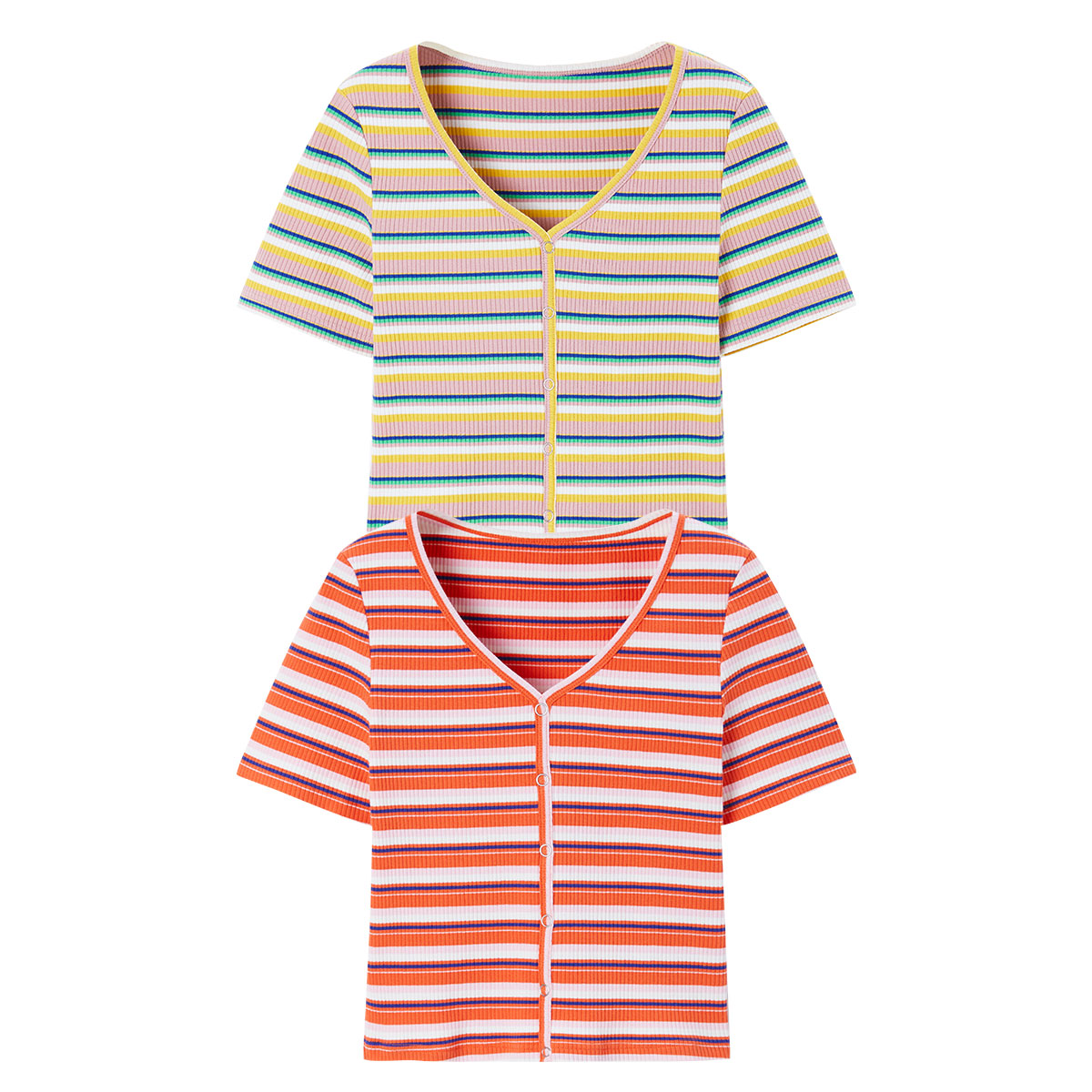 PEACEBIRD 太平鸟 泫雅风彩虹条纹短袖t恤修身短款针织打底衫女 M