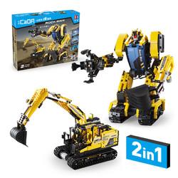 Double E 双鹰 履带式挖掘机&巨石机器人二合一造型可遥控积木拼插玩具电动机械组益智模型拼装玩具 兼容乐高