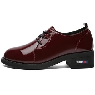 LAIKAJINDUN 莱卡金顿 韩版圆头系带低帮复古粗跟单鞋6561 酒红色 38