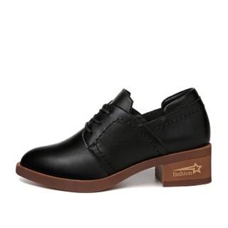 LAIKAJINDUN 莱卡金顿 韩版尖头粗跟百搭系带复古英伦单鞋6539 黑色 38